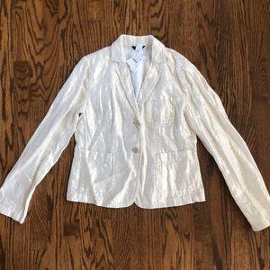 NWT J. Crew linen metallic gold blazer jacket